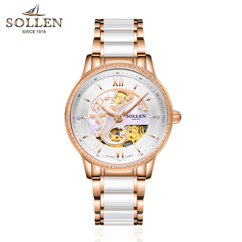 SOLLEN Womens Watches Automatic Mechanical Simple Ceramics Rose Gold Bracelet Strap Waterproof Relogio Feminino