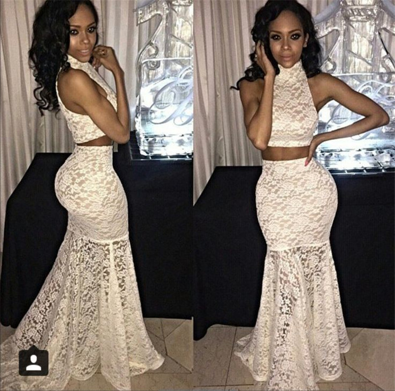 reasonable price new arrive newest White Lace Prom Dresses 2015 Appliques Sexy Dropped Waist ...