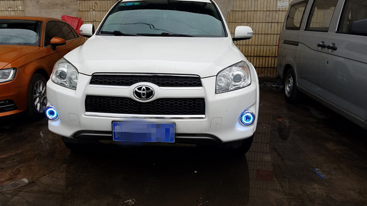 eOsuns Innovative COB angel eye led daytime running light DRL + Fog Lamp + Projector Lens for toyota rav4 2011 2012 2013 eemrke for toyota vios yaris belta 2007 2013 led angel eye drl daytime running light halogen yellow h11 55w fog lights