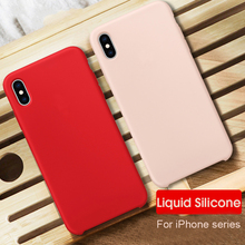 Luxury Soft Liquid Silicone Case For Apple iphone XR X XS MAX Cases Shockproof Cover For iPhone 6 6S 7 8 Plus Phone case coque цена и фото