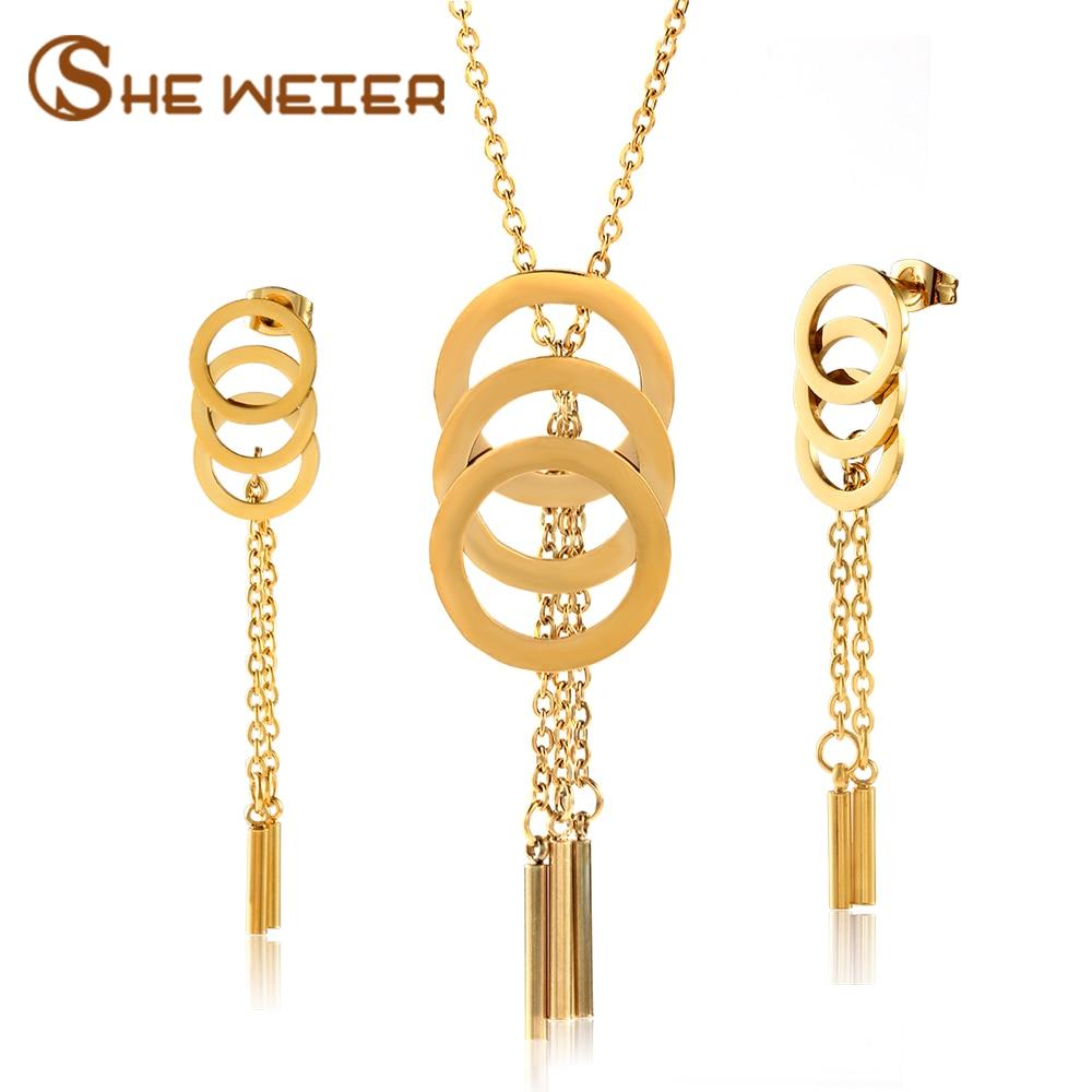 SHE WEIER Fashion Wedding Stainless Steel Jewelry Sets For Women Bowknot Dubai Tassel Jewelry Sets African Jewellery Golden rui ni weier