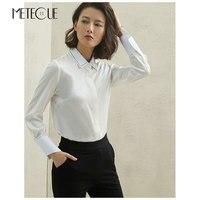 Beading Collar 100% Silk White Kimonos 2018 Autumn Winter Fashion Long Sleeve Womens Blouse 2018 Pre Fall