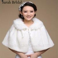 17015 White Ivory Faux Fur Ribbon Winter Wedding Bridal Shawl Shrug Cape Stole Wraps Coat 2015