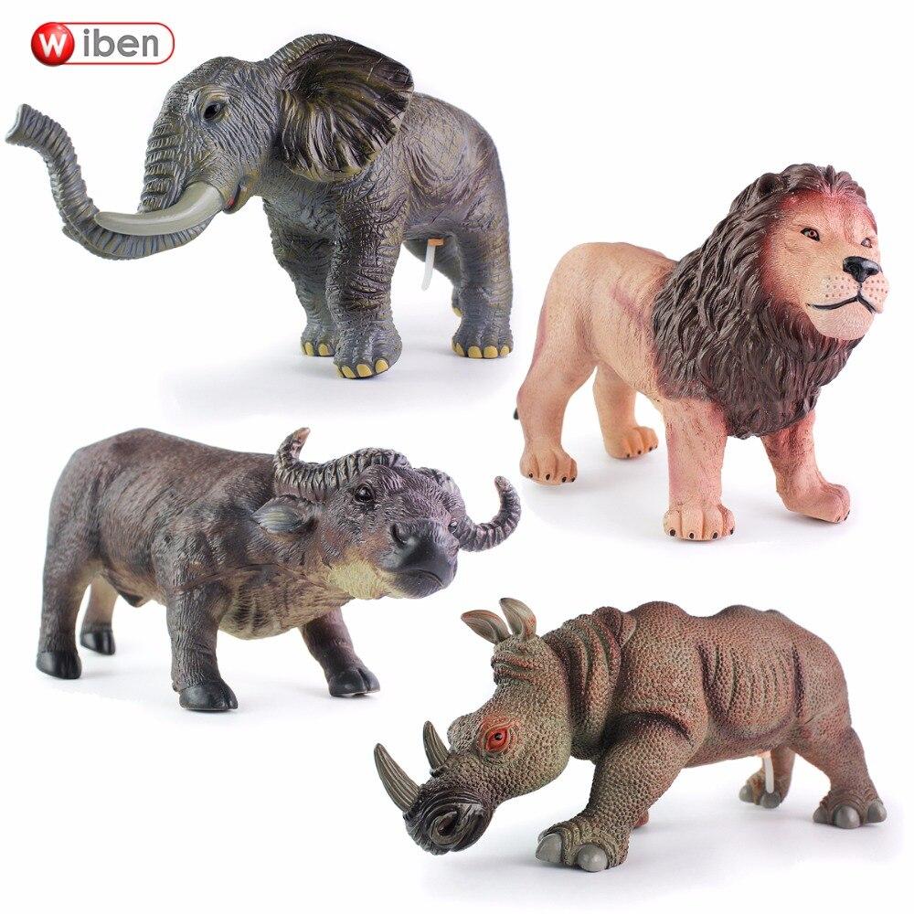Wiben 4 ชิ้น/ล็อตพลาสติก Rhinos สิงโตวัวช้างจำลองเสียงสัตว์รุ่น Action ตัวเลขของเล่นของขวัญเด็ก-ใน ฟิกเกอร์แอคชันและของเล่น จาก ของเล่นและงานอดิเรก บน   1