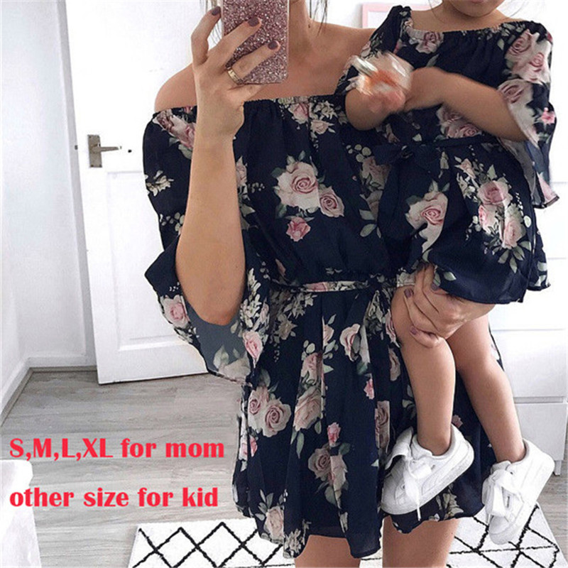 Family Matching Dresses Outfits Off-Shoulder Women Summer Girl Chiffon Boho Floral Loose