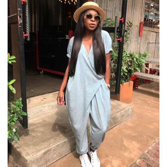 d7c836346bd Casual loose jumpsuits for women 2018 Summer fashion cross tie waist  jumpsuits and romper Femme long playsuits Cool street wear