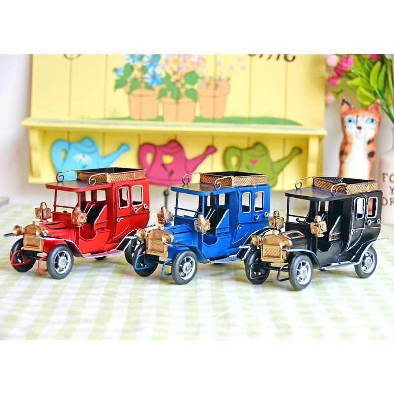 Vintage Car Model Home Decor Figurine Metal Car Decorations Children