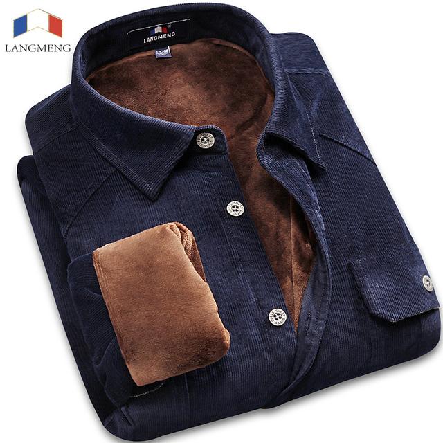 Langmeng Hombres Camisa de Vestir de Invierno 100% de Algodón de La Vendimia de Pana de Terciopelo Caliente Outwear Casual Para Hombre Formal Camisa Delgada Camisa Masculina