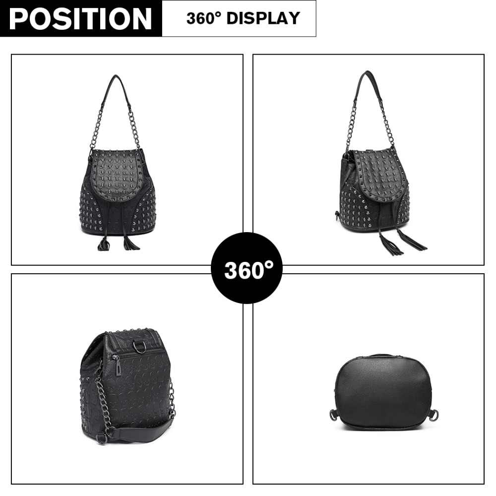... Miss Lulu Women Designer Backpacks Girls Drawstring School Bags Skull  Embossed Stud PU Leather Shoulder Bag ... 61a61b20b054
