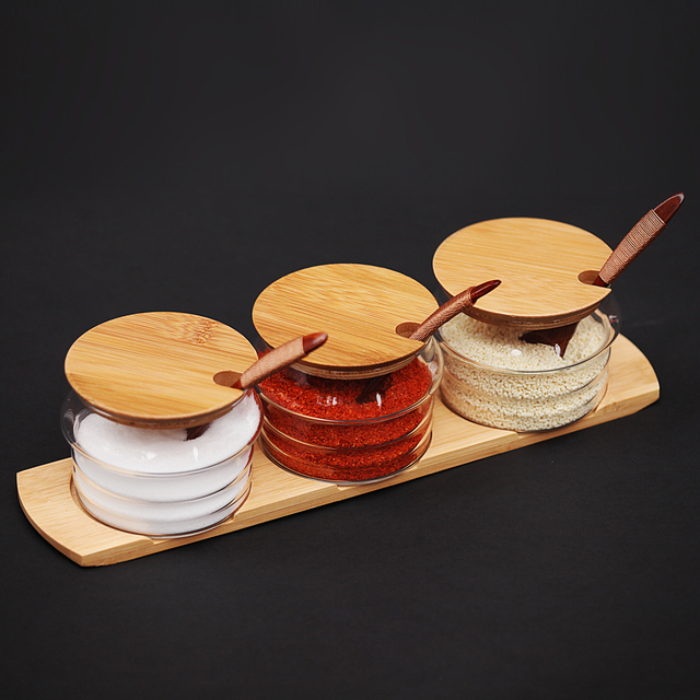 Set 3pcs Glass Kitchen Storage Jars Set Canister Cruet Set Bottle With  Bamboo Lids U0026 Base