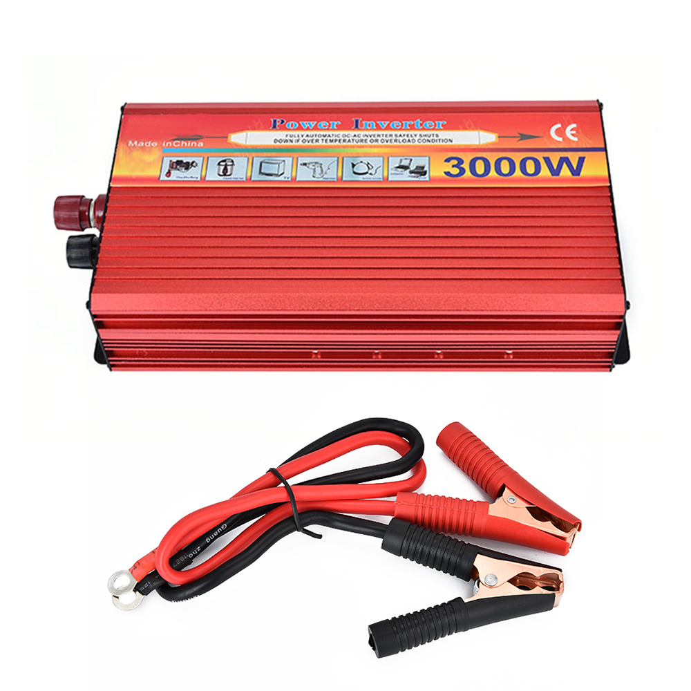 BORUiT 3000W Car Inverter DC 12V to AC 220V Power Inverter Charger Converter Sturdy and Durable Vehicle Power Supply Switch portable car inverter dc 12v to ac 220v 3000w car charger power inverter supply converter adapter with double universal socket