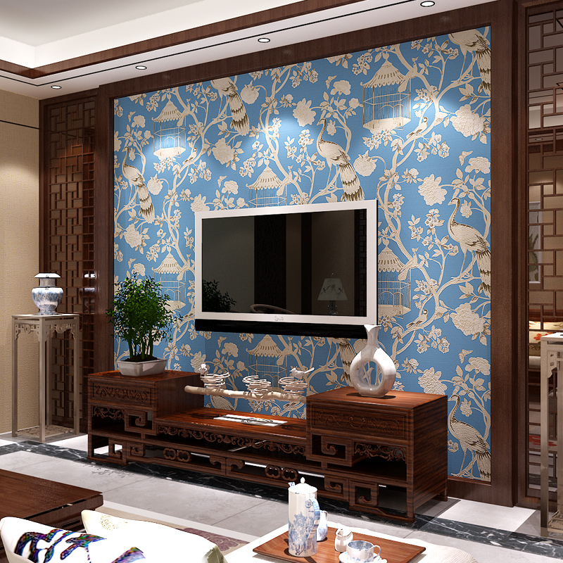Rushed Paysota Chinese Style 3d Wallpaper Classical Flowers Birds Bedroom Living Room Sofa Tv Setting Non-woven Wall Paper contracted ou lang chinese trumpet creeper wallpaper in the living room tv setting wall stickers paper non woven 3 d tv wall