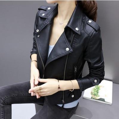 2017 New Women Casual Basic Autumn Winter PU Leather Coat Zipper Long sleeve Jacket Top patchwork