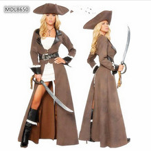 High Quality Queen Knight Cosplay Costumes Woman Pirate Sexy Classical Somali Women Pirate clothing 2016 New Costume Halloween(China)