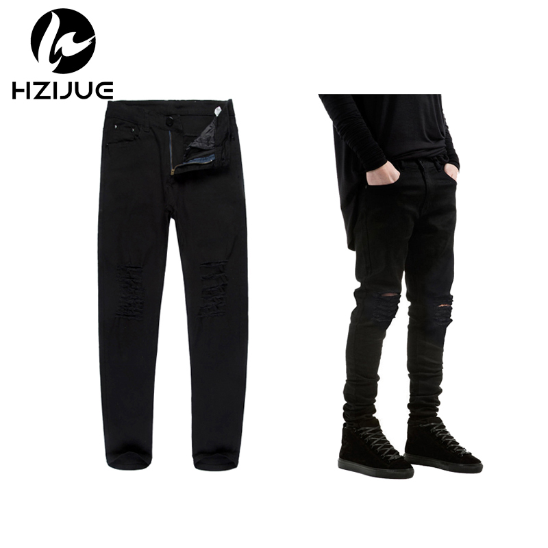 bd45f7dee7 HZIJUE 2018 New Black Ripped Jeans Men With Holes Super Skinny Famous  Designer Brand Slim Fit