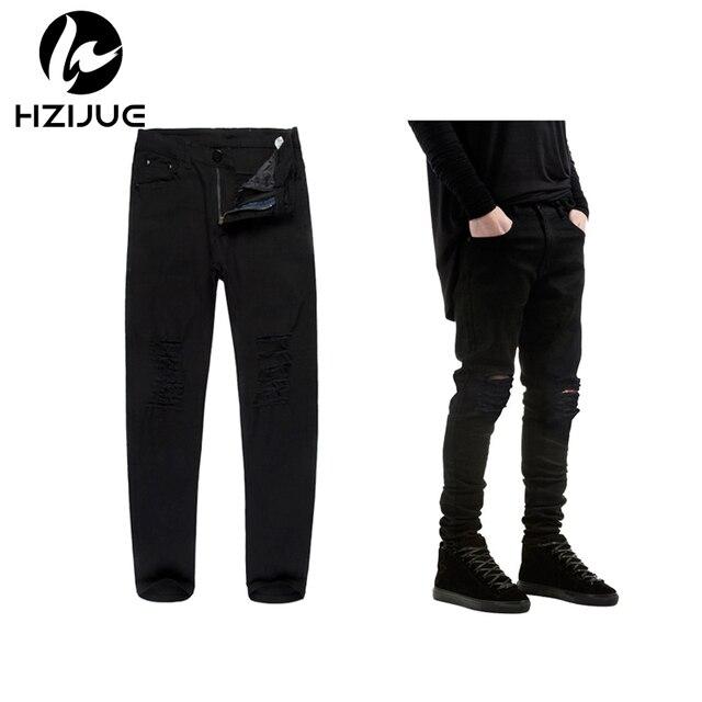 a0a8a9aadd0 Hzijue 2018 новый черный Рваные джинсы Для мужчин с отверстиями супер узкие  известный дизайнер марки Slim