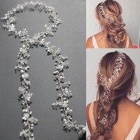 1PCS 2017 New Rhinestone Imitation Pearl Crystal Wedding Tiara Jewelry Accessories Headcomb Handmade Gold Bridal Long