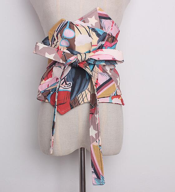 Women's Runway Fashion Print Wide Bow Cummerbunds Female Vintage Dress Corsets Waistband Belts Decoration Wide Belt R913