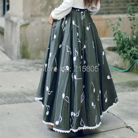 Hem Note Longues Grand Mode Élégant Bouton Imprimer Coton Cutomized Jupes Black Musicale 100 Tissu Noir 2016 Plissée nZvRfqf