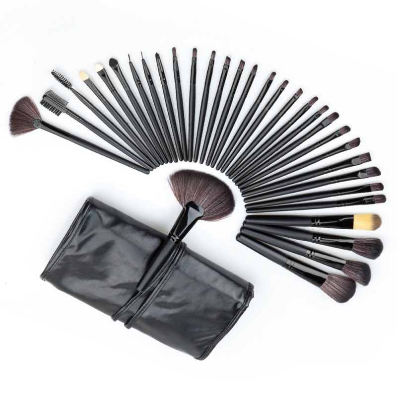 Hot Professional 32 PCS Cosmetic Facial Make up Brush Kit Wool Makeup Brushes Tools Set with Black Leather Case best quality fast shipping 15 pcs soft synthetic hair make up tools kit cosmetic beauty makeup brush black set with leather case