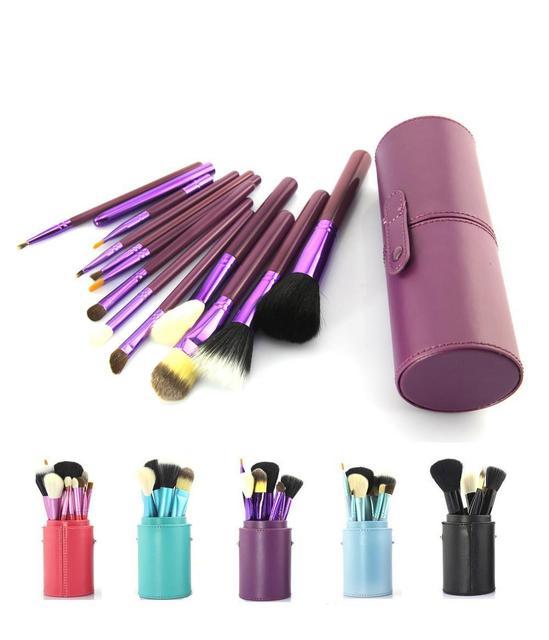 Belleza Maquillaje Cepillos 12 UNIDS púrpura Pincel de Maquillaje Herramientas de Cosméticos Cepillo de madera de Sombra con la Caja de Almacenamiento Titular