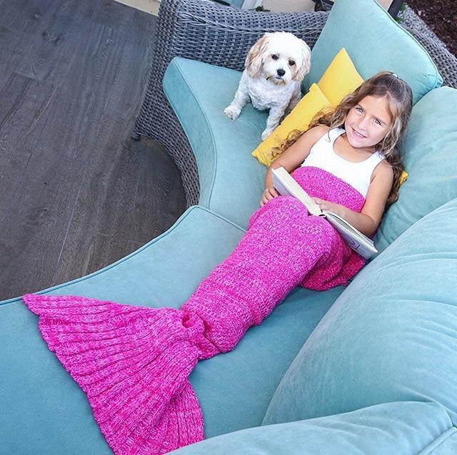 Spring Bedding Sofa Mermaid Blanket Wool Knitting Fish Style Little Tail Blankets Warm Sleeping Child Kids Princess Gift H576