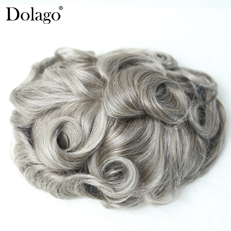 Men Toupee 8x10 Inch French Lace Center With Poly Perimeter Hair Replacement System 450# Hair Men Wig Human Hair Dolago Hair