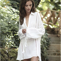 Self Duna 2017 Summer Women Long White Blouses Turn Down Collar Loose Lantern Sleeve Beach Female