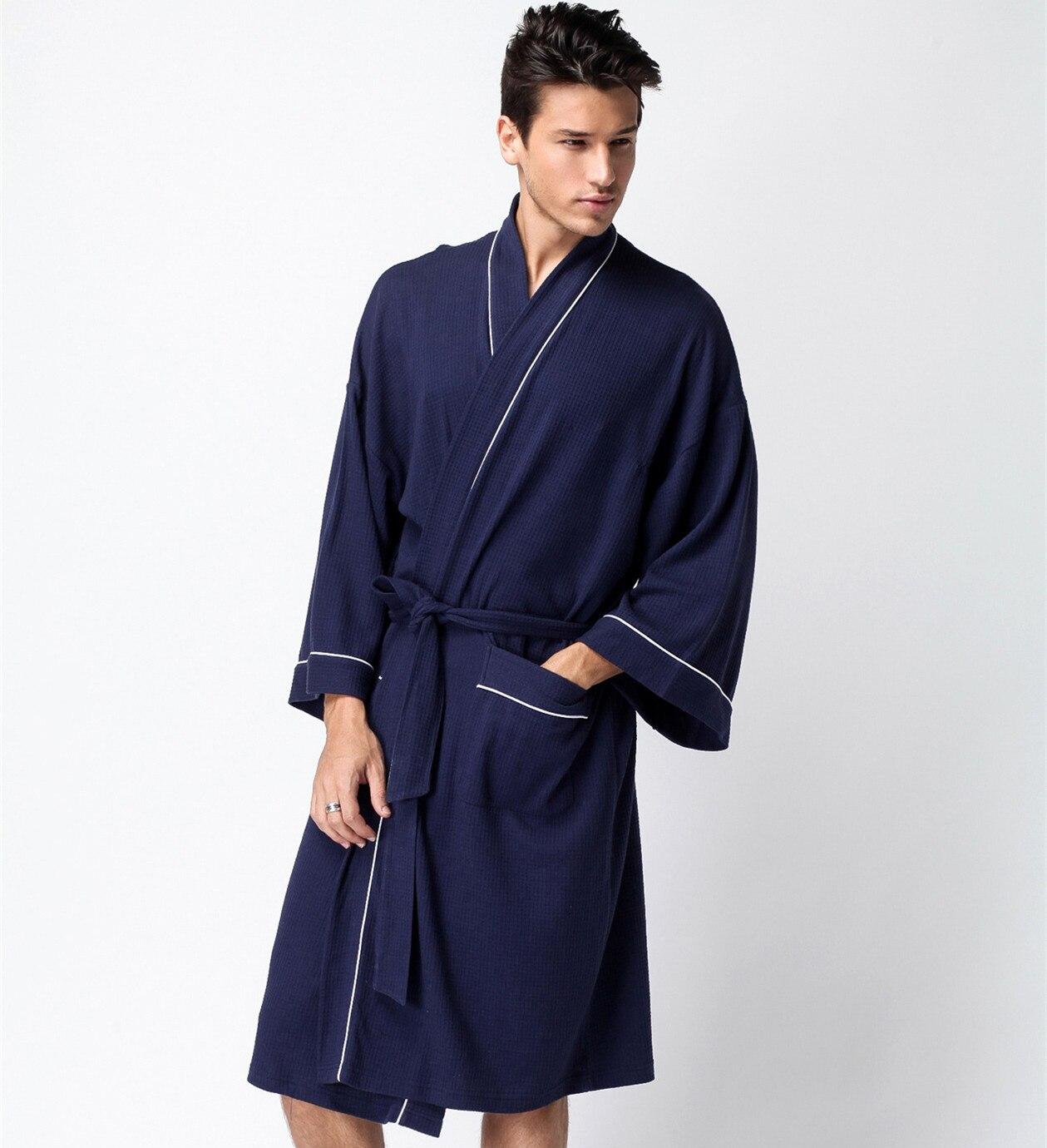Summer Men's Waffle Bathrobe Soft Cotton Thin Sleepwear Bathrobe Hotel SPA Robe Towel Lovers Long-sleeve Lounge Dressing Gown