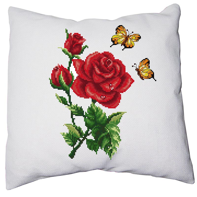 11CT42x42cm Pillow Cover Cross Stitch Pillow Set Embroidered Pillowcase Family Decorated Pillow Case Print Roses And Butterflies