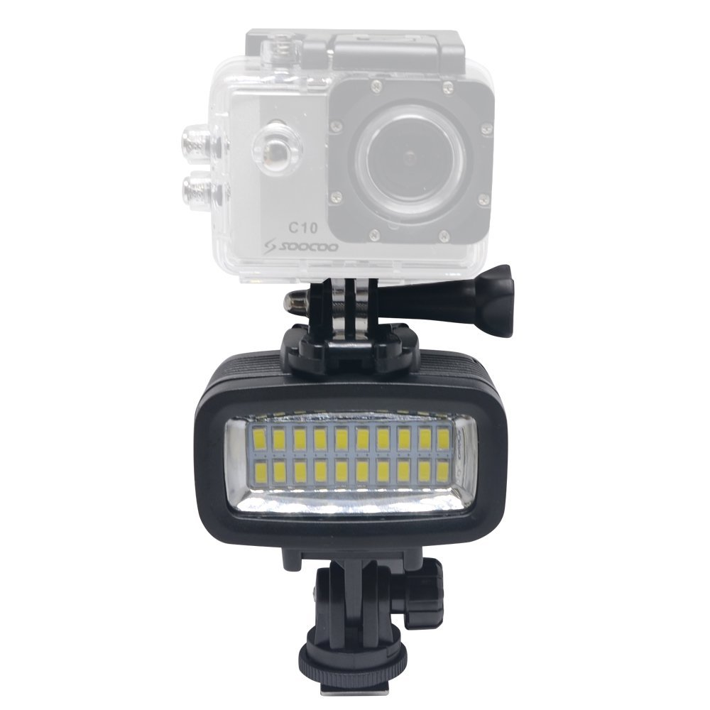 Image 2 - 20M Underwater 5500K LED Video Light 130ft Diving Gopro Lighting Fill in Lamp 700LM for GoPro Hero 6/5/4 SJCAM Yi EKEN H9-in Sports Camcorder Cases from Consumer Electronics