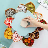 Creative Double-layer Rotary Storage Box Flower Design Plastic Snack Candy Box Fruit Basket Wedding Decoration Organizer