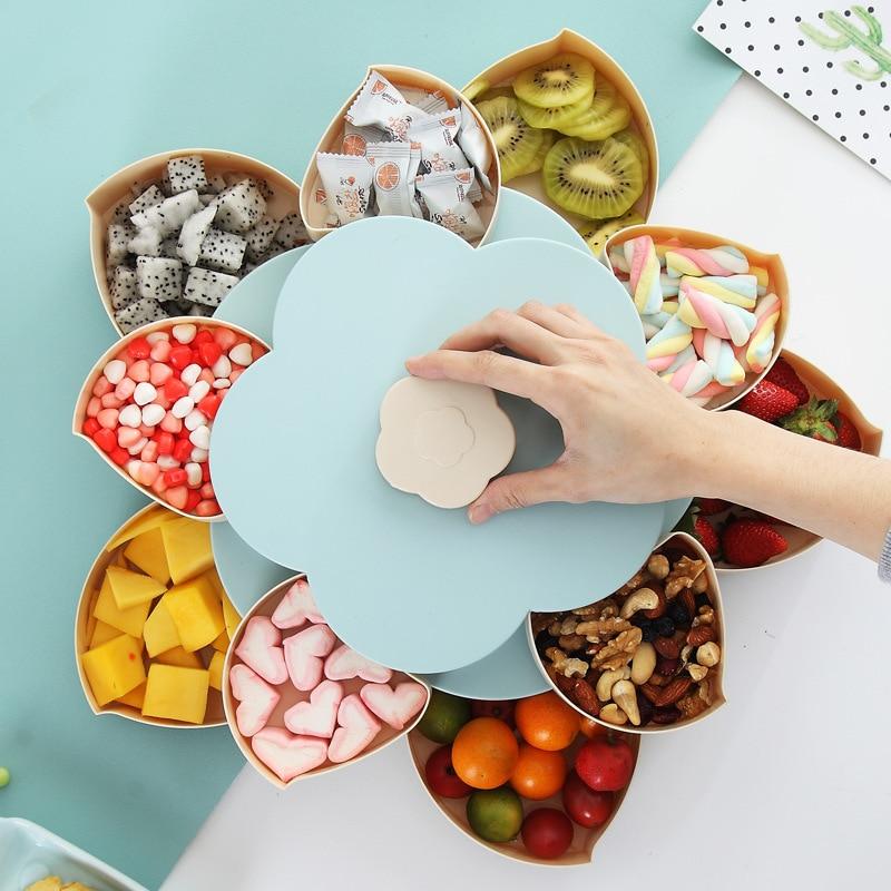 Rotierenden Blütenblatt Obst Candy Box für Samen Nüsse Trocken Früchte Fall Plum Art Mittagessen Container für Kinder Schützen Obst Fall veranstalter