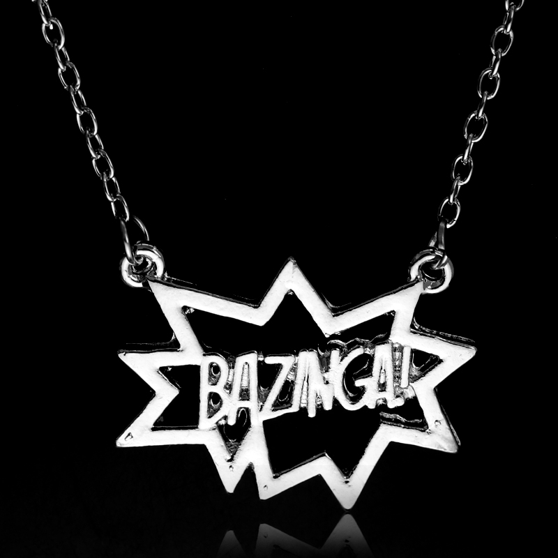 New Sale The <font><b>BigBang</b></font> Theory Bazinga Leeter Sheldon Alloy Pendant Chain Necklace Silver Plated image