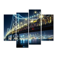 4 panel City Bridge Landscape Oil Canvas Painting Nightscape Decor Wall Art Pictures For Living Room
