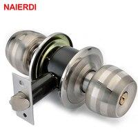 NED Stainless Steel Spherical Locks Copper Lock Core 60mm 70mm For Home Security Door Bedroom Handles