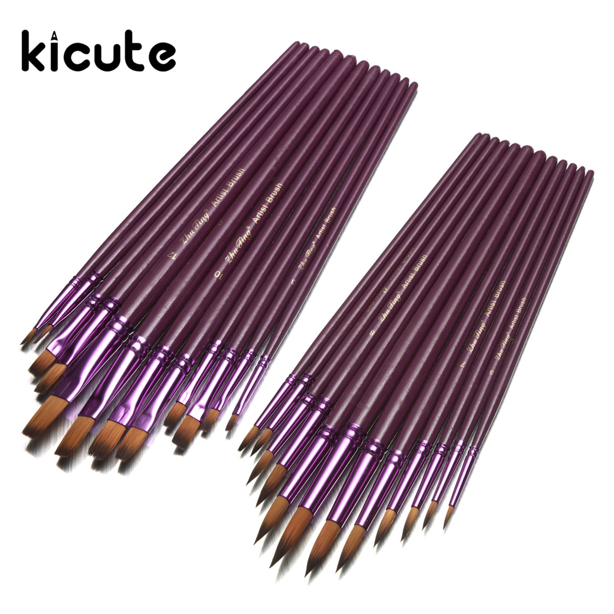 Kicute 12pcs/lot Oil Painting Drawing Painting Pen Nylon Hair Flat Tip Artist Paint Brush Pen Set For Watercolor Acrylic the factory direct large painting signature series of neutral pen 1mm 12pcs set