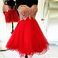 Gold Lace Appliques Short Red Homecoming Dresses 2017 Cocktail Party Dresses Ruffles Tulle Short Prom Dresses