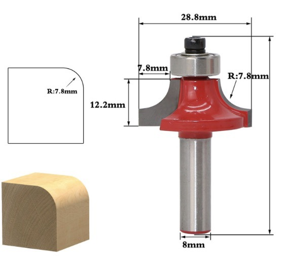 Купить с кэшбэком Woodworking machine turning tool filleted corner R 7.8MM Milling cutter wood
