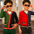 Spring/Autumn Colors Patchwork Knitted Cardigans for Boys Sweaters Kids Outwear Baby Clothes New 2016 T2DAO