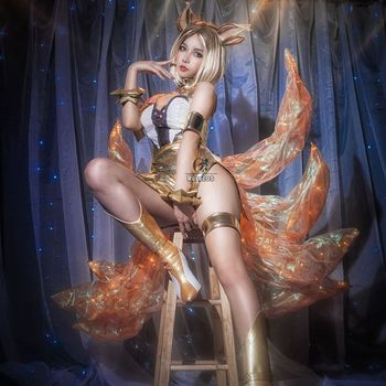 ROLECOS Prestige Edition Ahri Cosplay Costume KDA LOL Cosplay Costume for Women Halloween Sexy Costume Women Party Dress KDA LOL 2