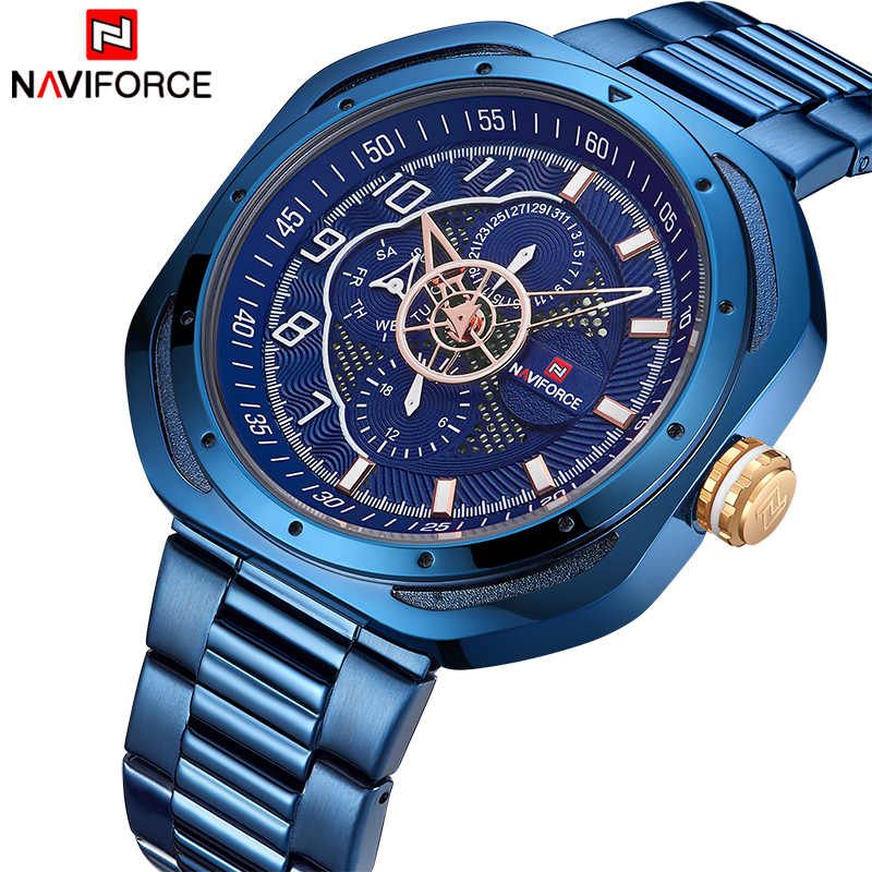 NAVIFORCE Top Luxury Brand Watches Men Fashion Sport Quartz 24 Hours Date Clock Man Full Steel Military Waterproof Wist WatchNAVIFORCE Top Luxury Brand Watches Men Fashion Sport Quartz 24 Hours Date Clock Man Full Steel Military Waterproof Wist Watch