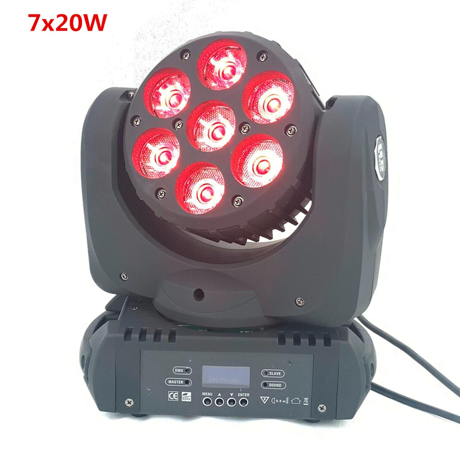 LED Beam Moving Head Light 7x20W Rgbw 4in1 9/16 Dmx Channels For Dj Disco Lights Wash Stage Lighting Effects
