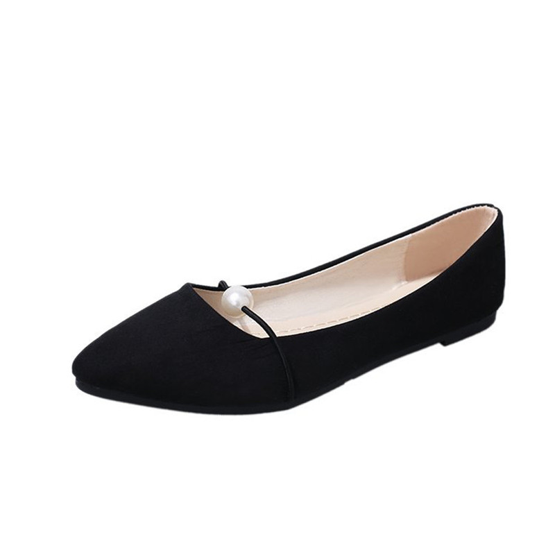 2018 Spring New Women Suede Flats Fashion High Quality Women's Solid Color Suede Flat Heel Pearl Flat Heel Pointed Casual Shoes