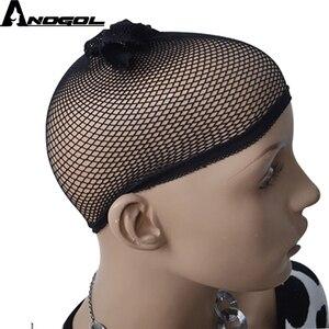 Image 4 - Anogol wdowa szczyt włosy z włókna wysokowytrzymałego wolna część 2 tony mieszane brązowy krótkie głęboka fala syntetyczna koronka peruka Front dla kobiet