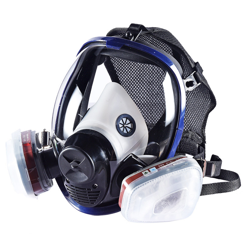 7 in 1 Full Face Gas Mask Silicone Filter Chemical Mask Dust Acid Toxic Air Chemicals