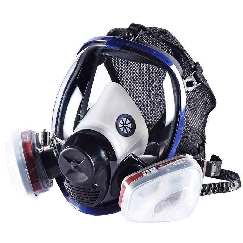 7 dans 1 Plein Visage Masque À Gaz Silicone Filtre Chimique Masque Poussière Acide Atmosphériques Toxiques Produits Chimiques Respirateurs peinture/Pesticides /laboratoire