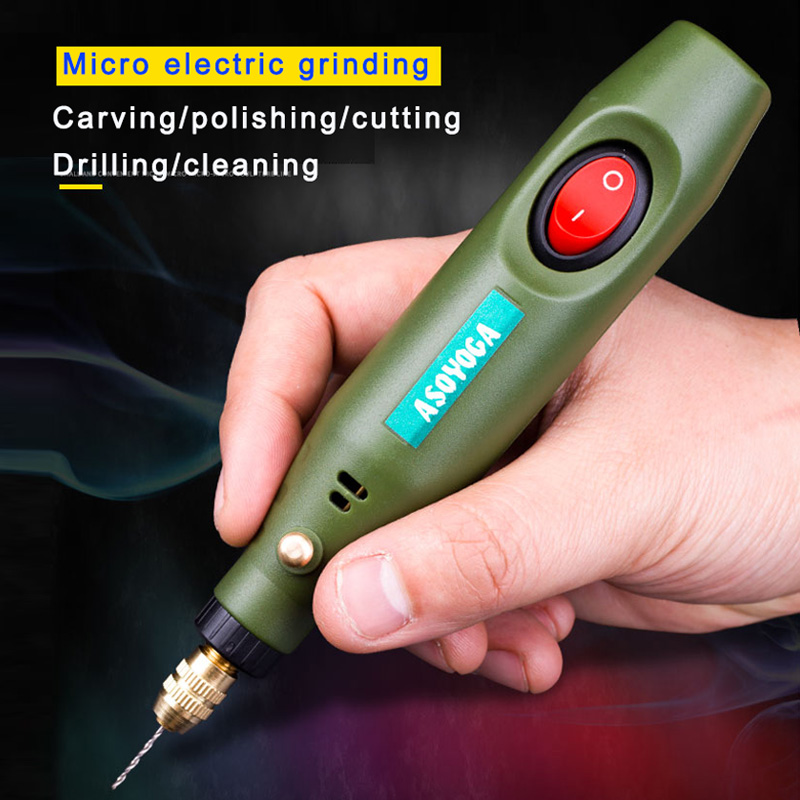 Electric Grinder Mini Small Jade Beeswax Carving Tool Electric Grinding   Polishing Machine Micro Household Small Electric Drill