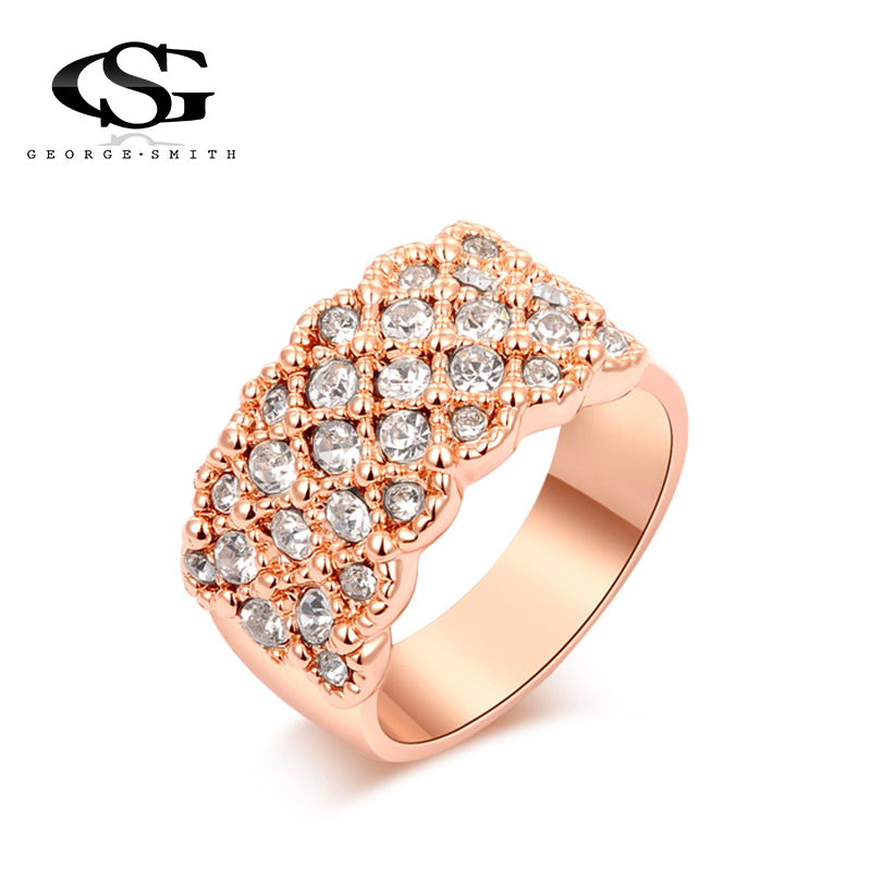 GS 5 Rows Crystal Stainless Steel Ring Women for Elegant Full Finger Love Wedding Engagement Rings Jewelry Y3