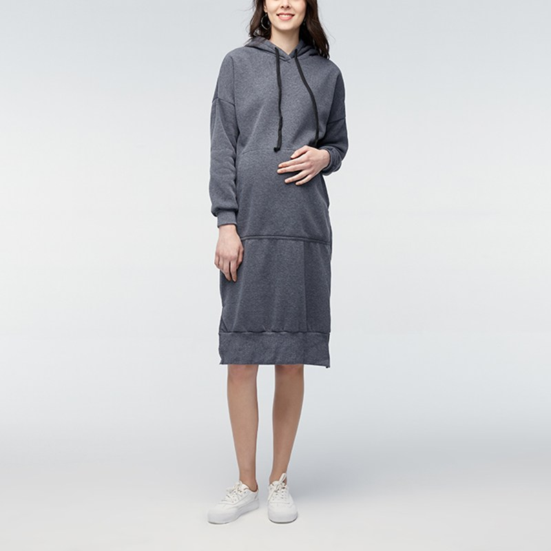 Maternity Clothes Pregnant Women Sweatshirt Hooded Dress 2018 Spring Fleece Casual Loose Long Sleeve Vestidos Plus Size